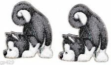 """2.5"""" WHIMSICAL WOLF WOLVE SET  CHRISTMAS  HOLIDAY FABRIC APPLIQUE IRON ON"""