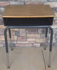 School Student Desk Adjustable Metal Legs Wood Top Open Front Cubby Homeschool