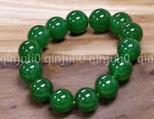 12mm Natural Grade Green Jade Jadeite Round Beaded Bangle Bracelet 7.5'' J3209