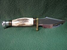 "Frost Cutlery Hunting Knife 9"" Single Blade Knife W/ Leather Sheath Trophy Stag"