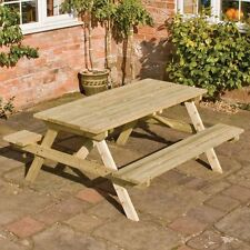 4ft Wooden Picnic Bench Table, Rowlinson FSC Pressure Treated Timber