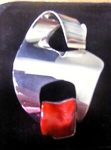 ARTISAN SIGNED INSCRIBED Italian CORAL STERLING BROOCH PENDANT One Of a KIND FAB