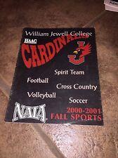 2000-2001 WILLIAM JEWELL COLLEGE FALL SPORTS FOOTBALL SOCCER+  MEDIA GUIDE b4
