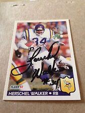 Herschel Walker VINTAGE HAND SIGNED 1992 Fleer Card With COA