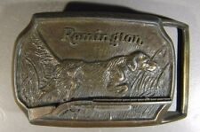 Remington Arms Brass Belt Buckle with Dog,   Nice Shape   ** FREE US SHIPPING **