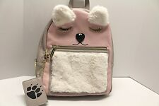 Betsey Johnson Bear Backpack Large School Travel Diaper bag furry ears PINK NWT