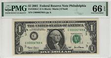 2001 $1 FEDERAL RESERVE NOTE FR.1926-C PARTIAL LADDER SERIAL PMG GEM 66 EPQ