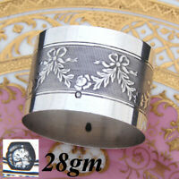Antique French 800 (nearly sterling) Silver Napkin Ring: Bow, Ribbon & Garland