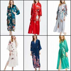 Damen Boden-Lange 100% SEIDE Kimono Morgenmantel Robe Japanisch Yukata Nachthemd