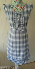 MONSOON Indian COTTON white blue & grey CHECK Prairie frill sun DRESS 14 42 NEW