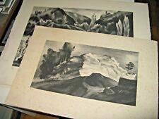"2 LITHOGRAPHIES SIGNEES JACQUES CAMUS ""PAYSAGES"" 1950 Petits Tirages ART-DECO"