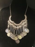 "Alexander The Great Rhinestone &Coin Dangle Necklace 24""& Earrings Silver Tone"