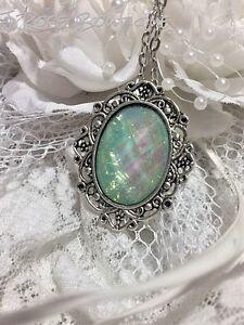 SWEET LOVE FLOWER 925 SILVER PL Blue Opal Fire Necklace Pendant Victorian Galaxy