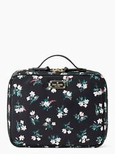 KATE SPADE WILSON ROAD MARTI BLACK TRAVEL COSMETIC CASE W/ DELICATE FLORAL PRINT