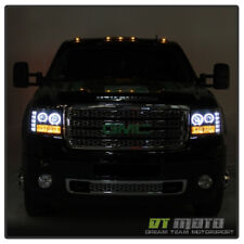2007-2013 GMC Sierra 1500 2500HD LED DRL Halo Projector Headlights Headlamps Set