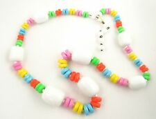VTG Western Germany Pastel Rainbow Faceted Rondelle & White Barrel Bead Necklace