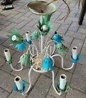 Vintage Italian Tole ? FLOWER CHANDELIER Painted Metal 6 Arms Floral Shabby Chic