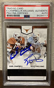 2016 Panini EARL CAMPBELL RICKY WILLIAMS Auto Signed Football Card PSA/DNA