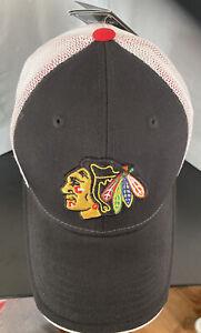 Chicago Blackhawks Reebok NHL Grey Black Center Ice collection Cap L/XL