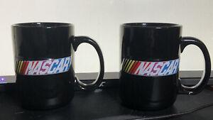 2 NASCAR mug logo 2003 racing race stock cars black ceramic cup Lot,