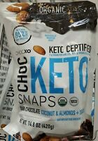 CHOCXO Choc Keto Snaps Dark Chocolate Coconut & Almonds & Sea Salt  14.8 oz.