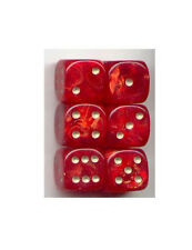 NEW Dice Set of 6 D6 (15mm) - Gold Mist Red