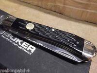BOKER HAND MADE POCKET KNIFE LG. TRAPPER BLACK JIGGED BONE HANDLE GERMAN MADE