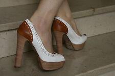 Scarpe decolletè donna, colore bianco e marrone, nr. 37