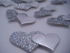 12 Silver Self Adhesive Glittery Double Hearts Wedding