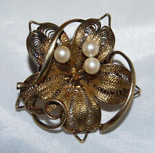 Vintage Sterling Silver Filigree with Gold Wash & Cultured Pearls Flower Pin