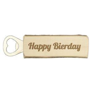 """Flaschenöffner """"Happy Bierday"""" Rustikal gefertigt aus einem Nussholzast"""