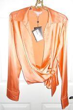 NWT St.John 'Frosted Apricot' Silk Wrap Blouse Sz 16