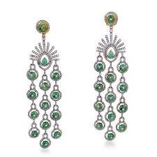 19.7ct Emerald Diamond Chandelier Earrings 18kt Gold 925 Sterling Silver Jewelry