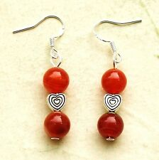 Gemstone Drop Earrings with Sterling Silver Hooks Red Stripe Agate New LB272