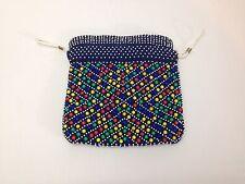 Vintage Boho Chic Hippie Multi-Colored BEADED  DrawString Purse Handbag HongKong