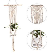 Vintage Macrame Plant Hanger Flower Pot Garden Holder Legs Hanging Rope Basket