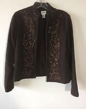 Chico's Jacket Blazer Cotton Bolero Brown Sequins Gold Lame Women's Size 0