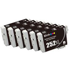 6 Pack for 252 XL 252XL Black Ink Cartridges fit Epson WorkForce WF-3620 WF-3640