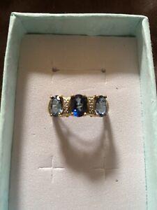 9k Blue Passion Topaz & Diamond Yellow Gold Ring Trilogy Style Gorgeous Colour