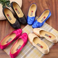New Women's Round Toe Faux Satin Ballet Loafers Shoes Casual Flat Shoes Slip On
