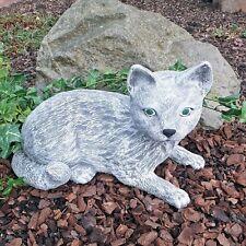 Steinfigur  Katze Mieze Deko Garten Tierfigur Gartenfiguren Steinguss 01 A