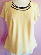 Ladies Jaques Vert 80s blouse top 16 18 Yellow Black Trim Cap Sleeve 30s 50s VGC