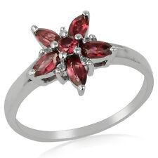 925 Sterling Silver Flower Design 1.27ct Rhodolite Garnet Handmade Women Jewelry