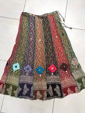 Mitna Hippy Skirt Mde Nepal Shells Mirrors Ankle Length Peasant Boho Medium