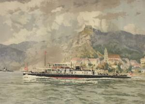 Vintage Hans Figura Original Nautical Etching Signed Framed Boat Seascape