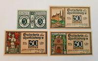 QUEDLINBURG NOTGELD 10, 3x 50 PFENNIG 1921 NOTGELDSCHEINE (11517)