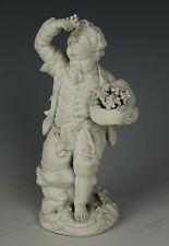 """Antique 18C Meissen Acier Figurine F21 Garden Children """"Boy Holding Grapes"""" Worl"""