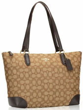 NWT COACH F29958 OUTLINE SIGNATURE ZIP TOTE KHAKI BROWN $250