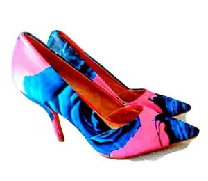Christian Dior Satin Flower shoes size Blue Flowers Hot pink