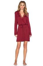Eberjey ESTELLE Merlot Red Lace Rayon Jersey Wrap Robe & Nylon Blend Thong - L